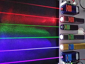 Photo of red, green, and blue-violet lasers.