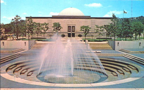 Photo from postcard sold at Buhl Planetarium in the 1970s, showing Buhl Planetariium fronted by the Allegheny Square Fountain
